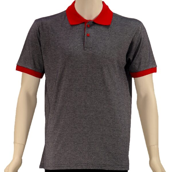 GRAY RED COLLAR LACOSTE T-SHIRT